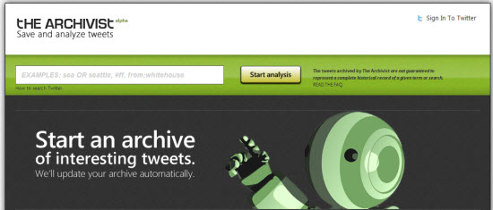 the archivist twitter tool